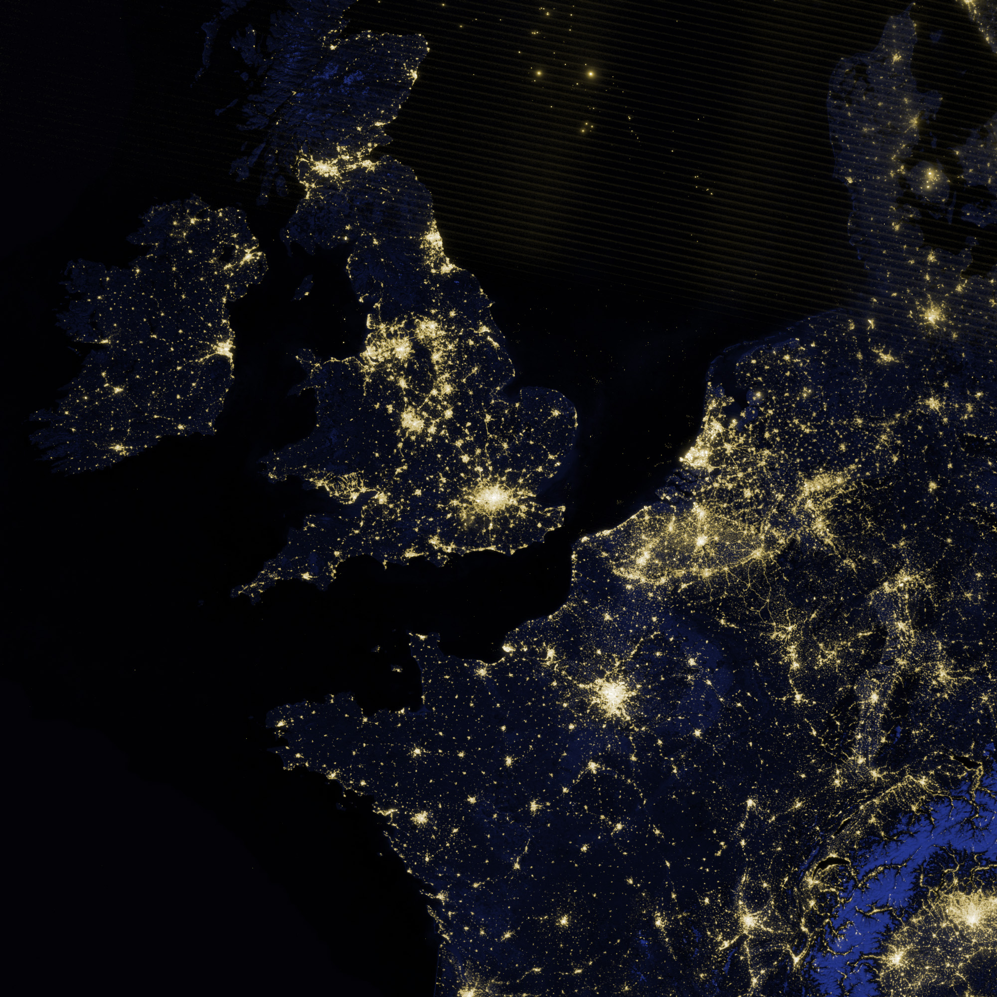 britain from space at night