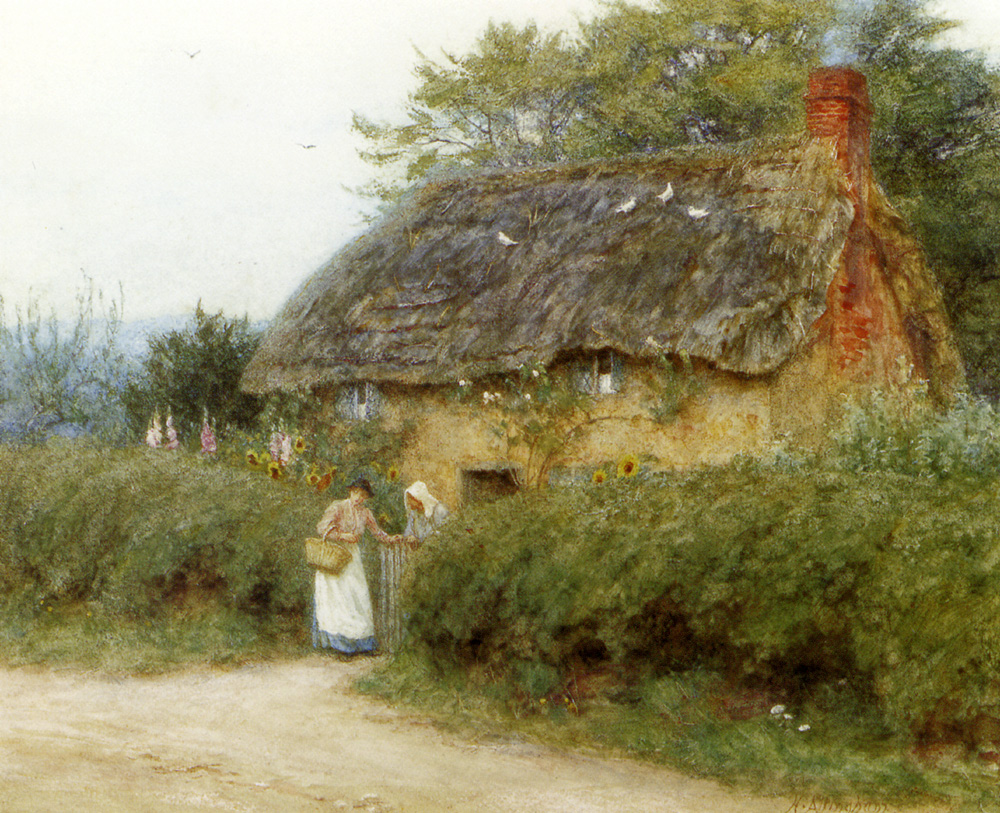 Great British Art: A Thatched Cottage With Sunflowers At Peaslake by Helen Allingham