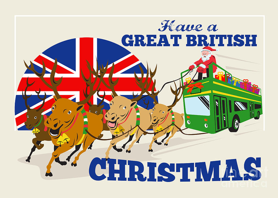 great british christmas santa reindeer doube decker bus - British Christmas Traditions