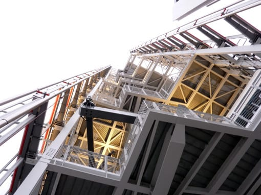 Looking up at the pinnacle outside on level 72© Laura Porter (taken at View From The Shard)
