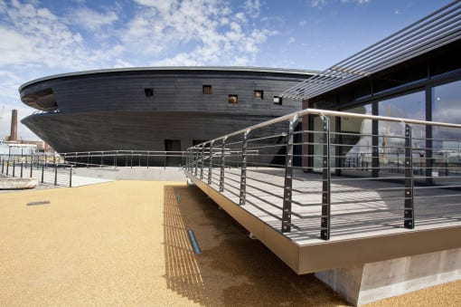 Views across the Mary Rose café terrace of the new museum. (c) Portico Marketing