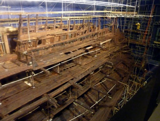 The Mary Rose hull seen the day after he sprays were switched off. (c) Laura Porter
