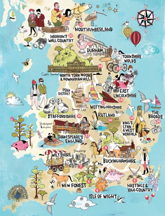 A lovely illustrated map of england showing the top for Attractions in nyc for couples