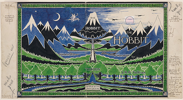 The final design of The Hobbit dust jacket.